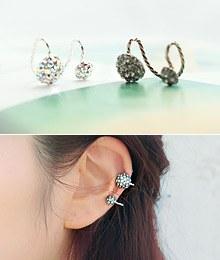 231552 - <EC061-S> stone ball Ear Cuff-S