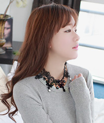 233016 - <NE074-BB12> [Handmade] show time lace necklace