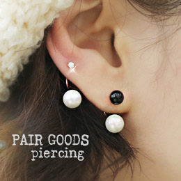 237940 - <ER601-S> [Sell one pairs] [Silver Post] twin pearl piercing-S