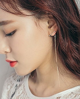 1044423 - <ER1001_GD10> [KBS thoughtlessly anxious Sponsor] [Silver Post] multi long chain earrings