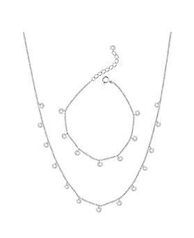 1044879 - <JS225_BE06> [Necklace + bracelet + anklet] [Silver] double Water drop set
