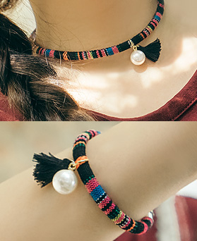 1045017 - <JS230_IF17> [Necklace + bracelet] ethnic lonely set