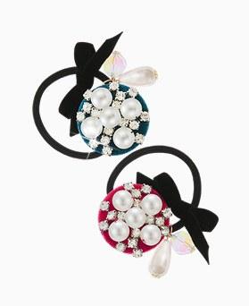 1045564 - <HA533_FH07> [Handmade] pearl Velvet ponytail