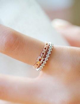 237544 - <RI320_S> [Same-day shipping] slim square chain ring