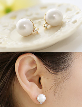 238353 - <ER646-GF09> [Clip type] [Sarah birth of beauty] one point pearl earrings