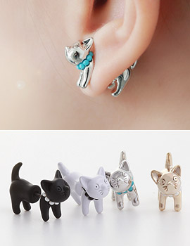 1043326 - <ER730-S> Tribale cat earrings