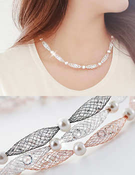 1043390 - <JS158-IH05> Mesh pearl necklace