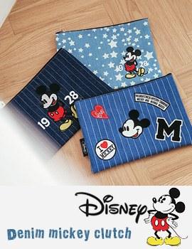 1043800 - <FI077-M> [Disney genuine] denim Mickey Clutch bag