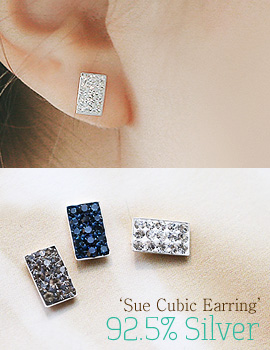 1043802 - <ER836-BE07> [MBC Woman pushing the carrier] [Silver] sue cubic earrings