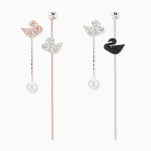 1045837 - <ER1358_CD19> [Silver Post] Unbalanced swan drop earrings