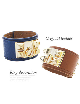 227452 - <BC067-HE22> ring decoration leather bracelet