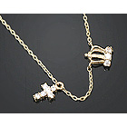 9608 - <GH18> [14K Gold] cross & tiara Mini necklace