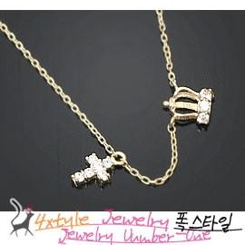 9608 - <GH18> [14K Gold] cross & tiara Mini necklace