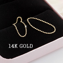 230091 - <K14J020-GH16> [knuckle recommendation] [14K Gold] ball chain ring