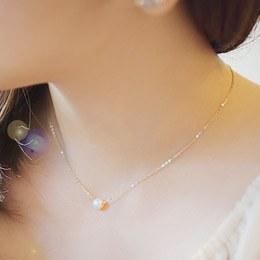 231741 - <K14J016-GH18> [Goddess of marriage Ji Hye] [14k Gold] pearl crystal necklace