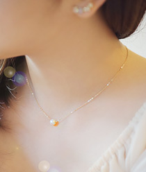 231741 - <K14J016-GH18> [Goddess of marriage Ji Hye] [14k Gold] pearl crystal necklace