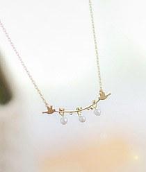 232991 - <NE029-S> pearl Ann bird necklace