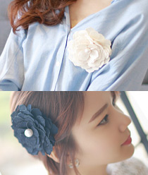 233526 - <HA060-H1> [pin & brooch for both] pearl point Flower hairpin & brooch