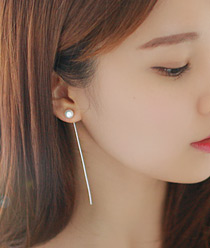 236717 - <ER515-CF11> [Silver Post] pearl long line earrings