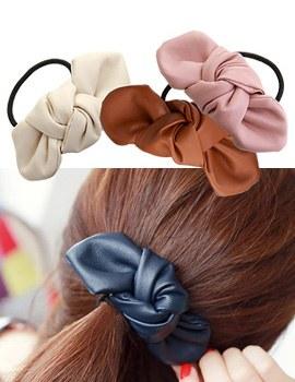1021332 - <HA365-h9> leather ribbon ponytail