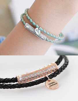 1043415 - <BC365-HE21> two-line real leather bracelet
