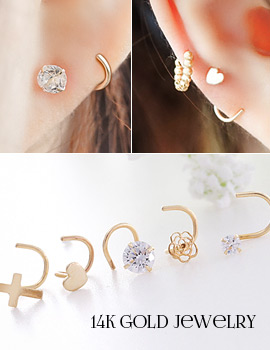 1043758 - <ER820-GJ15> [Unique] [14K Gold] rolling poster earrings