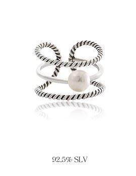 1044043 - <RI513_B> [Silver] 3line pearl ring