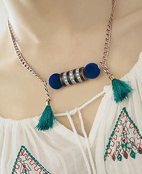 1044525 - <NE318_IH02> pompom tassel necklace