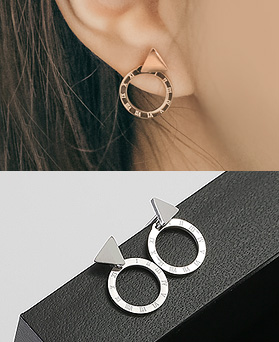 1045074 - <ER1170_S> [Same day shipping] [Stainless Steel] circle Classic earrings