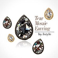 224966 - <ER075-DJ12> tear mosaic earrings