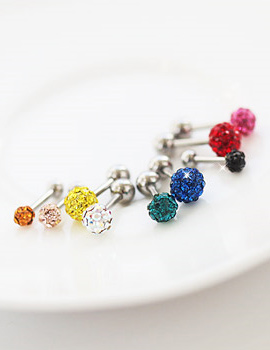 227005 - <ER447-GI21~24> [Ojakyo brothers white porcelain] [Special material anti-allergic] colorful cubic piercing