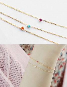 227920 - <SL271-HH05> [Silver] tiny one cubic bracelet