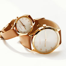 228190 - <WC047-BD10> flat round leather watches