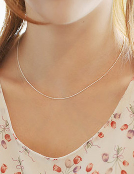 228304 - <SL358-BE08> [Silver] Mild sausage chain necklace
