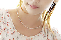 228305 - <SL356-BE08> [necklace + bracelet] [Silver] mild sausage chain set