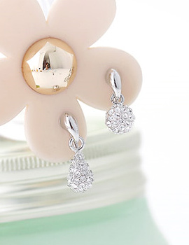 229036 - <PC128-S> [Out of stock] [clip type] round ball & tear earrings