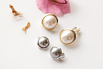 229351 - <PC081-S> [Out of stock] [clip type] volume round pearl earrings