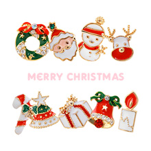 229795 - <ER644-GF07> [Silver Post] Christmas carnival earrings