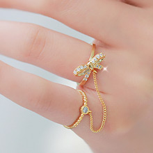 230169 - <RI026-JH16> twin ribbon chain ring