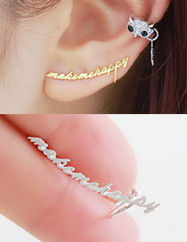 231394 - <SL049-BD08> [Selling] [Silver] Make me happy earrings