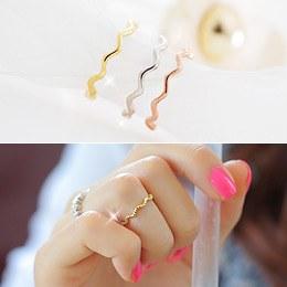 231555 - <SL124-JA08> [Silver] cute wave ring