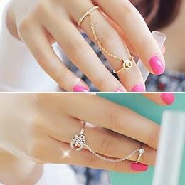 231566 - <RI028-JF23> twin Flower & peace chain ring