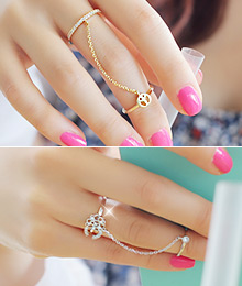 231566 - <RI028-JF23> twin Flower & peace chain ring