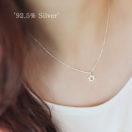 231574 - <SL089-BD08> [Silver] once a star necklace