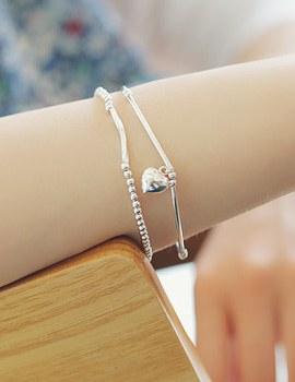 231595 - <SL244-HD21> [Silver] heart & stick bracelet