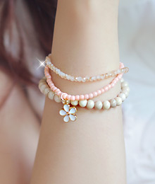 231669 - <BC007-S> [Immediate out of stock] Pink lady gemstone bracelet