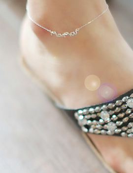 231772 - <SL038-BD07> [Silver] I Love You anklet