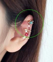 232049 - <EC073-CA21> Swarovski Blue star ear cuff