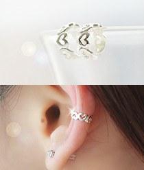 232071 - <SL042-BD08> [Silver] petit heart ear cuff