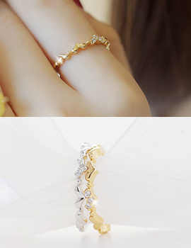 232086 - <RI134-JA01> [little finger knuckle for both] heart line ring